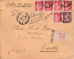FRANCE LETTRE CHARGÉE PARIS 1933 - Storia Postale