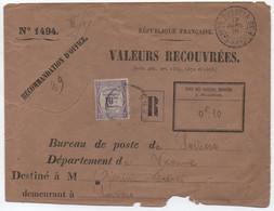 Rare Enveloppe N°1494 Valeurs Recouvrées Cachet DUBREKA Guinée Française 1916 > France Taxe 10c Recouvrements à Poitiers - Storia Postale
