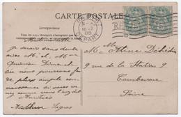 Carte Postale Affranchissement  Paire 5c BLANC Oblitération Essai Machine FLIER RF D De 1905 Qualité SUP ! - 1877-1920: Periodo Semi Moderno