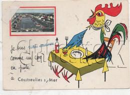 Courseulles-sur-Mer (14) : Vue Du Port Avec Illustration D'un Coq à Table Env 1970 (animé) GF. - Courseulles-sur-Mer