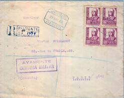 1938 , HUELVA ,  SOBRE CERTIFICADO A PARIS , CENSURA MILITAR DE AYAMONTE , TRÁNSITOS , SEVILLA E IRÚN . ED. 822 X 4 - 1931-50 Cartas