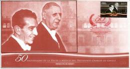 MEXIQUE. Cinquantenaire De La Visite Du Général De Gaulle Au Mexique. Beau FDC Officiel, Oblit. PJ , Année 2014 - Mexico