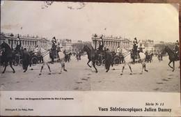 CPA 1906 Officiers De Dragons à L'arrivée Du Roi D'Angleterre (stéréoscopique J.Damoy), Militaria, Régiment,éd Le Deley - Estereoscópicas