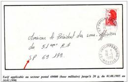 2F20 LIBERTE Lettre De Moselle Pour Le Secteur Postal 69179 - Militärstempel Ab 1900 (ausser Kriegszeiten)