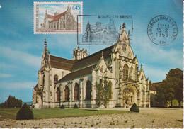 CM-Carte Maximum Card # France-1969 #  Sites & Monuments # Architecture # Église De Brou # Obl. Flamme Bourg-en-Bres - 1960-69