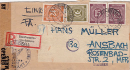 COVER. 22 2 47. REGISTERED BLAUBEUREN-GERHAUSEN TO ANSBACH. OPEN CENSOR - Zona Anglo-Americana