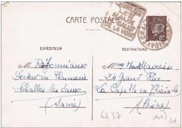 Carte Petain 80ct Challes Les Eaux Savoie Le Salut De La Voix 1942 Daguin Rare Sur Entier Petain - Standard- Und TSC-AK (vor 1995)