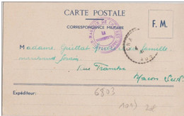 Carte Franchise Militaire Station Magasin De Chatres Aube 1941 - 2. Weltkrieg 1939-1945