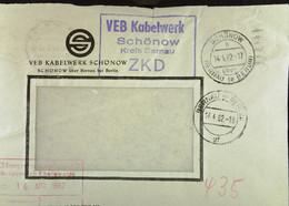 """Fern-Brief Mit ZKD-Kastenst """"VEB Kabelwerk Schönow Kreis Bernau"""" Vom 14.4.62 An VEB Energieversorgung Eberswalde - Service"""
