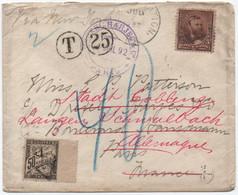 1892 50c Noir Banderole Duval Lettre USA Insuffisamment Affranchie 2ème échelon Réexpédiée Paris > Allemagne Taxe 40 Pf. - 1859-1955 Storia Postale