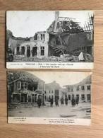 2 Postkaarten Pervyse – Ruïnes Guerre 14-18 – Animatie - Diksmuide
