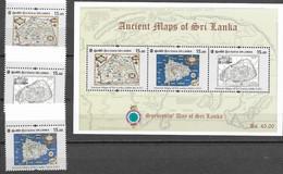 SRI LANKA, 2020 , ANCIENT MAPS, 3v+SHEETLET - Altri