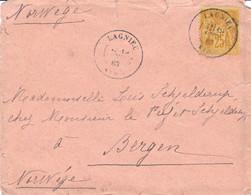 25c Sage Jaune Sur Lettre Lagnieu Ain 19 AOUT 1883 Pour Bergen Norvège - 1877-1920: Période Semi Moderne