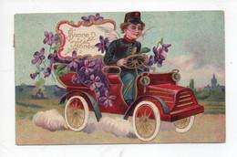 """Bonne  Année  """"  -  Petit Facteur  Dans  Voiture Plein  Des  Violettes -  Carte  Dorée - Nieuwjaar"""