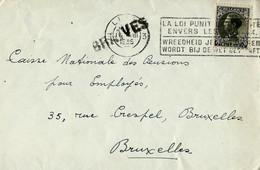 Enveloppe (entière)  Obl. LIEGE 3 De 1935  + Griffe De BRAIVES - Sello Lineal