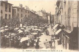 Dépt 71 - MÂCON - La Place De L'Herberie Et Le Marché - (Éditeur : G. J. M. N° 18) - Cachet 134è R.I. Au Verso - (1914) - Macon
