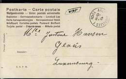 """Carte Fantaisie  Obl. Ambulant : ARLON - BRUXELLES 1905  + Griffe """"encadrée""""  Pnchée De ARLON - Sello Lineal"""