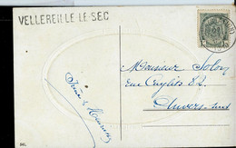 Carte Fantaisie  Obl.  MONS (STATION) 1910  + Griffe De VELLEREILLE LE SEC - Sello Lineal