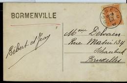 Carte Fantaisie  Obl. CINEY - C C - Du 25/07/1912  + Griffe De BORMENVILLE - Sello Lineal