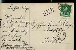 """Carte Fantaisie  Obl. CHARLEROI 1913  + Grife """"encadrée De ASCH Et Obl D'arr. ZEELHEM - Sello Lineal"""