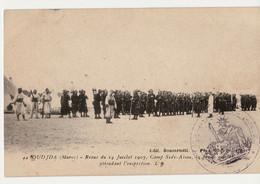 MAROC OUDJDA REVUE DU 14 JUILLET 1907 CAMP SIDI-AISSA GARDE MONTANTE ATTENDANT INSPEC  NON CIRCULEE+ TAMPON MILITAIRE - Andere Oorlogen