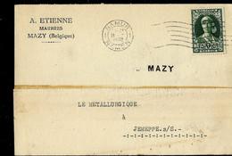 Carte De Service-firme - Obl. NAMUR - NAMEN 1932  + Griffe De MAZY - Sello Lineal