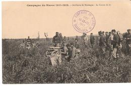 MAROC*Campagne Du Maroc 1911-1912-Artillerie De Montagne-Le Canon De 65  NON CIRCULEE+ TAMPON MILITAIRE - Other Wars