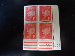 N° 514 Coin Daté En Timbres Neufs 11/08/1941 Type Pétain - 1940-1949