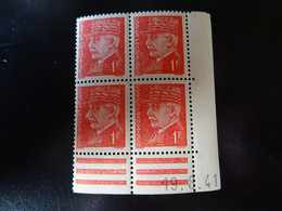 N° 514 Coin Daté En Timbres Neufs 19/08/1941 Type Pétain - 1940-1949