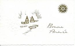 """BONNE ANNEE 1 """"village""""  130/80 2 Maisons Et Soleil Stylisile Carte Blanche.jpeg - Año Nuevo"""