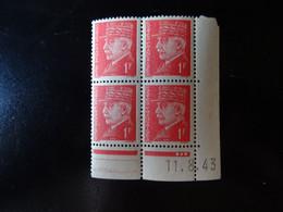 N° 514 Coin Daté En Timbres Neufs 11/08/1943 Type Pétain - 1940-1949