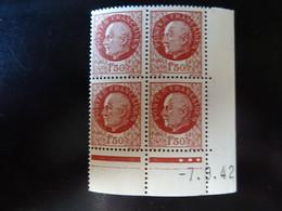 N° 517 Coin Daté En Timbres Neufs 07/09/1942 Type Pétain - 1940-1949