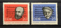 (349) DDR 1963 : Sc# 653-654 COMMUNIST SONG THE INTERNATIONAL POTTIER WRITER DEGEYTER COMPOSER - MNH VF - Ongebruikt