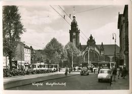 Tram/Strassenbahn Krefeld,Bahnhof/Gare,Opel Olympia,DKW 1000, Gelaufen - Tramways
