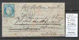 France - BALLON MONTE - 21/01/1871 - LE GENERAL DAUMESNIL Pour Dives Puis Caen - Calvados - 1870 Siège De Paris