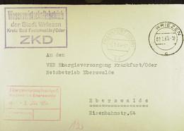 """Fern-Brief Mit ZKD-Kastenstempel """"Wasserwirtschaftsbetrieb Der Stadt Wriezen Kreis Bad Freienwalde/Oder"""" Vom 2.1.63 - Dienstpost"""