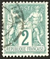 YT 74 (°) Obl 1876-78 SAGE (type II) 2 C Vert CàD (côte 25 Euros) – B2otti - 1876-1898 Sage (Tipo II)