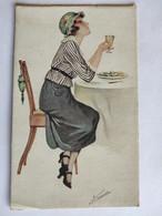Cpa, Trés Belle Carte, Femme, Vin De Sauternes Par Suz MEUNIER - Meunier, S.