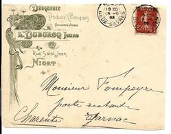 NIORT 1908 - Devant D'env EN-TÊTE Illustré De La DROGUERIE DUBURCQ - Rue St Jean - Covers & Documents