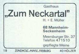 """1 Altes Gasthausetikett, Gasthaus """"Zum Neckartal"""", H. + E. Müller, 6800 Mannheim-Seckenheim, Meersburger Str. 37 #1439 - Zündholzschachteletiketten"""