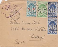 LETTRE. MADAGASCAR. 3 FEVR 48. AMBULANT ANTSIRABE-TANANARIVE N° 1. 12Fr PAR AVION POUR LE LOIRET FRANCE - Lettres & Documents