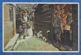 CPM Militaria Allemagne Fantaisie Scène De Garnison Avec Arrivée De Santa Claus  Fröhliche Weihnacht Voir Tampon Recto - Sin Clasificación