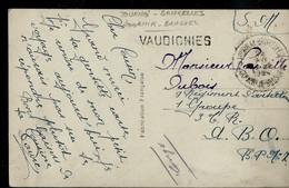Carte Fantaisie  En Franchise Militaire (SM)  Obl. Ambulant- TOURNAI - BXL Bilingue  1924 + Griffe De VAUDIGNIES - Sello Lineal