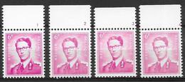 OBP1069 P3 Met Plaatnummers 1,2,3 En 4, Postfris** (scharnier Op Strookje En Stempeltje Op Zegel) - 1953-1972 Anteojos