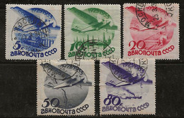 Russie 1934 N° Y&T : PA. 41B à 45B ( Fil. C) Obl. - Gebruikt