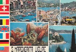 CARTOLINA S. MARGHERITA LIGURE, PIAZZA C. COLOMBO,RIVIERA LIGURE, LIGURIA, SPIAGGE ,PORTO, BARCHE A VELA VIAGGIATA 1956 - La Spezia