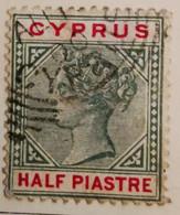 Chypre 1894-1896  -  Y&T  N° 24- 1/2pi. Vert Et Carmin /0/ - Otros