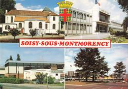 95 Soisy Sous Montmorency Eglise Hotel De Ville Piscine Centre Commercial Escale Carte 4 Vues + Blason  CPM - Soisy-sous-Montmorency