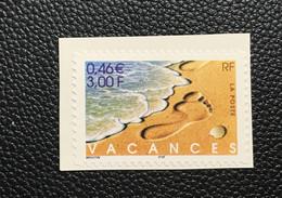 """P6T16 - N°3400 (Adhésif 29) Neuf ** Sur Support """"Vacances"""" De 2001 - Adhesive Stamps"""
