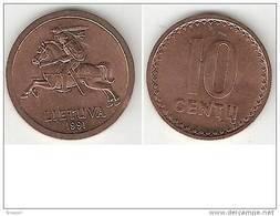 Lithuania 10  Centai 1991  Km 88  Unc !!!!!! - Lituania